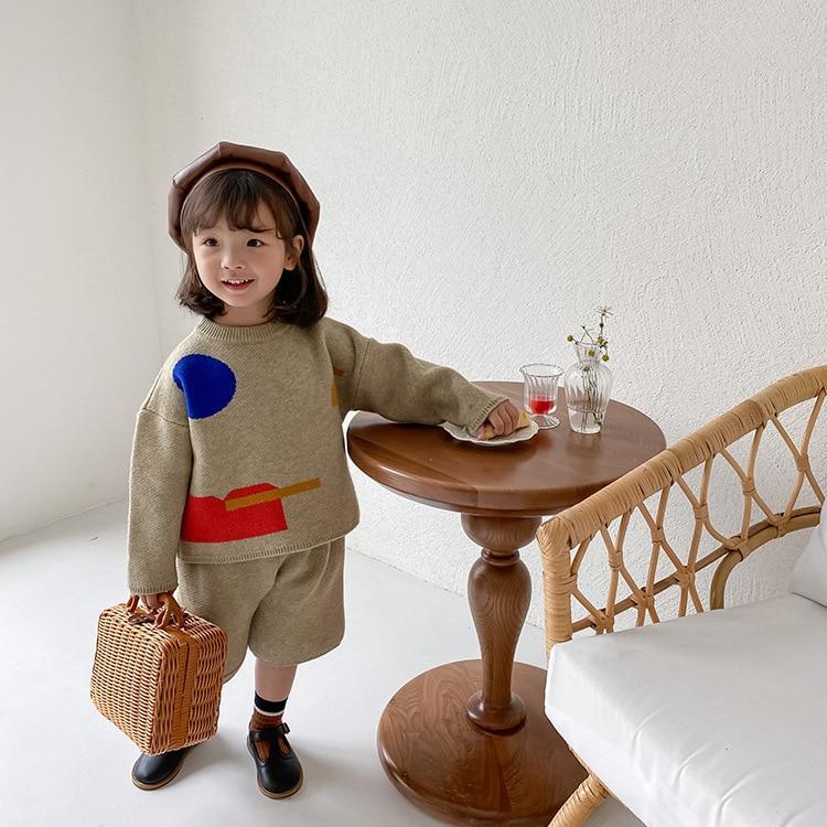 slide 4 - Geometric Pattern Knitted Sweater & Pants - Oat