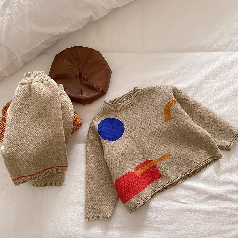 slide 5 - Geometric Pattern Knitted Sweater & Pants - Oat