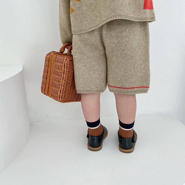 slide 8 - Geometric Pattern Knitted Sweater & Pants - Oat