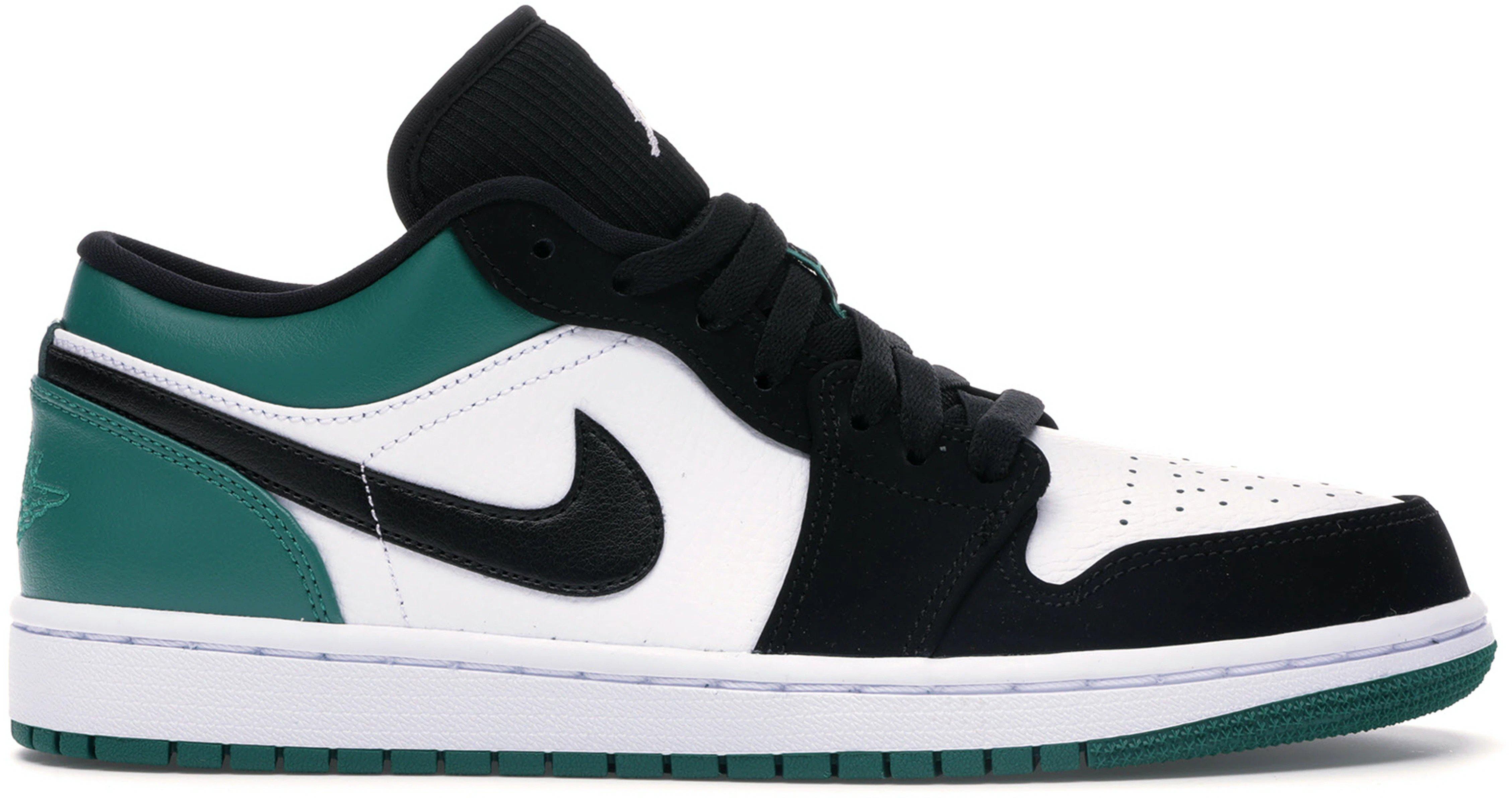 slide 1 - Jordan 1 Low White Black Mystic Green