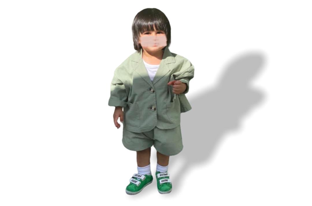 slide 1 - Long Sleeve Coat & Shorts Set - Green