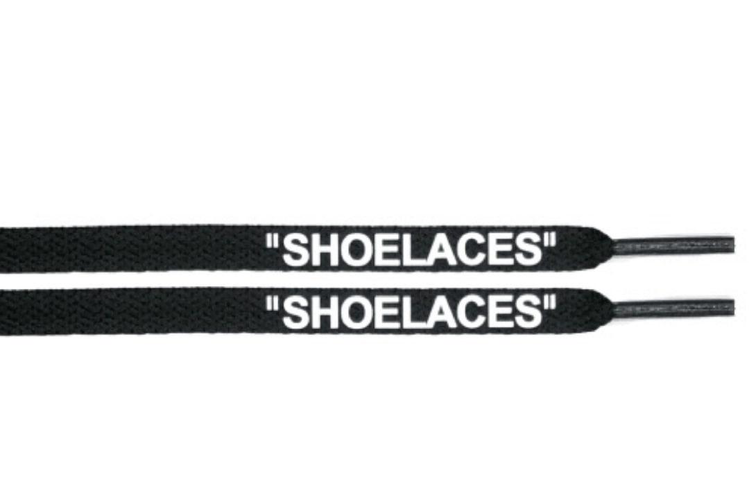 """slide 1 - """"OFF-WHITE"""" Shoe Laces - Flat Black Color White Font"""