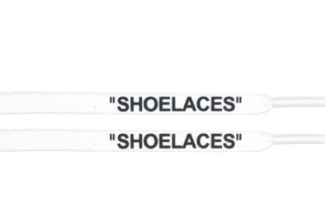 """slide 1 - """"OFF-WHITE"""" Shoe Laces - Flat White Color Black Font"""