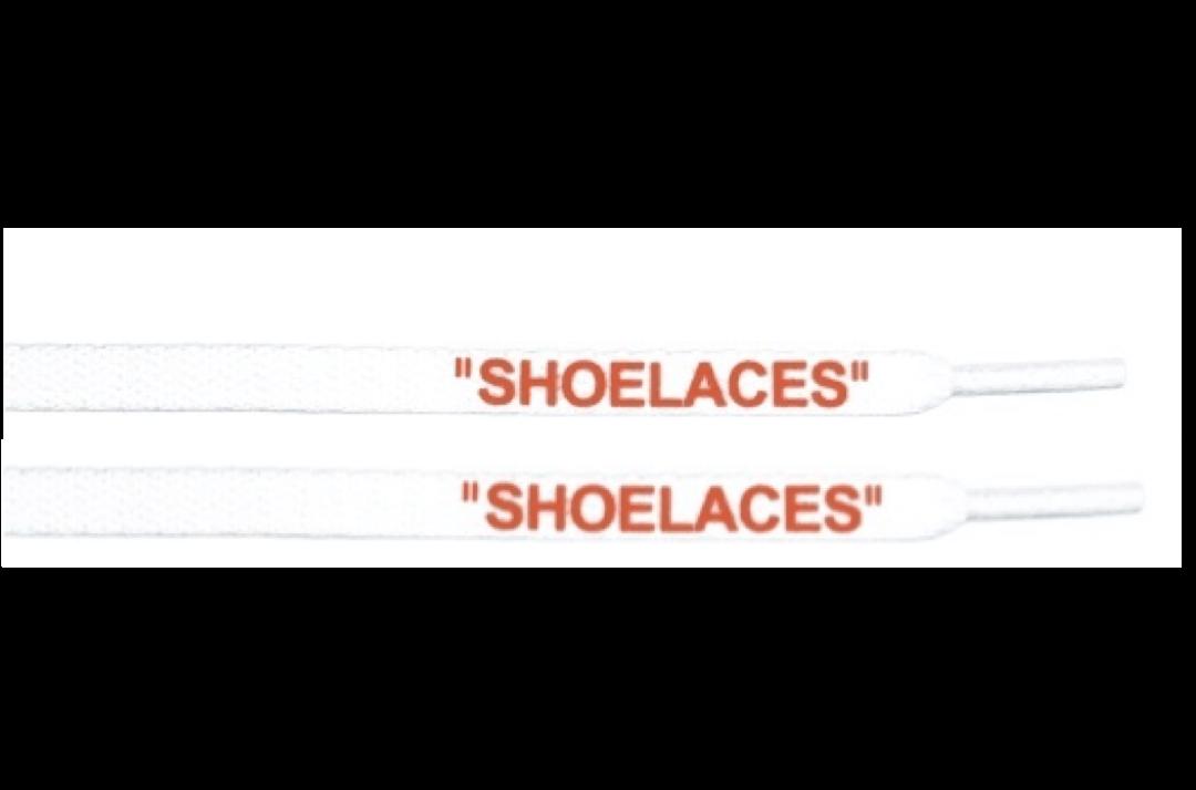 """slide 1 - """"OFF-WHITE"""" Shoe Laces - Flat White Color orange Font"""