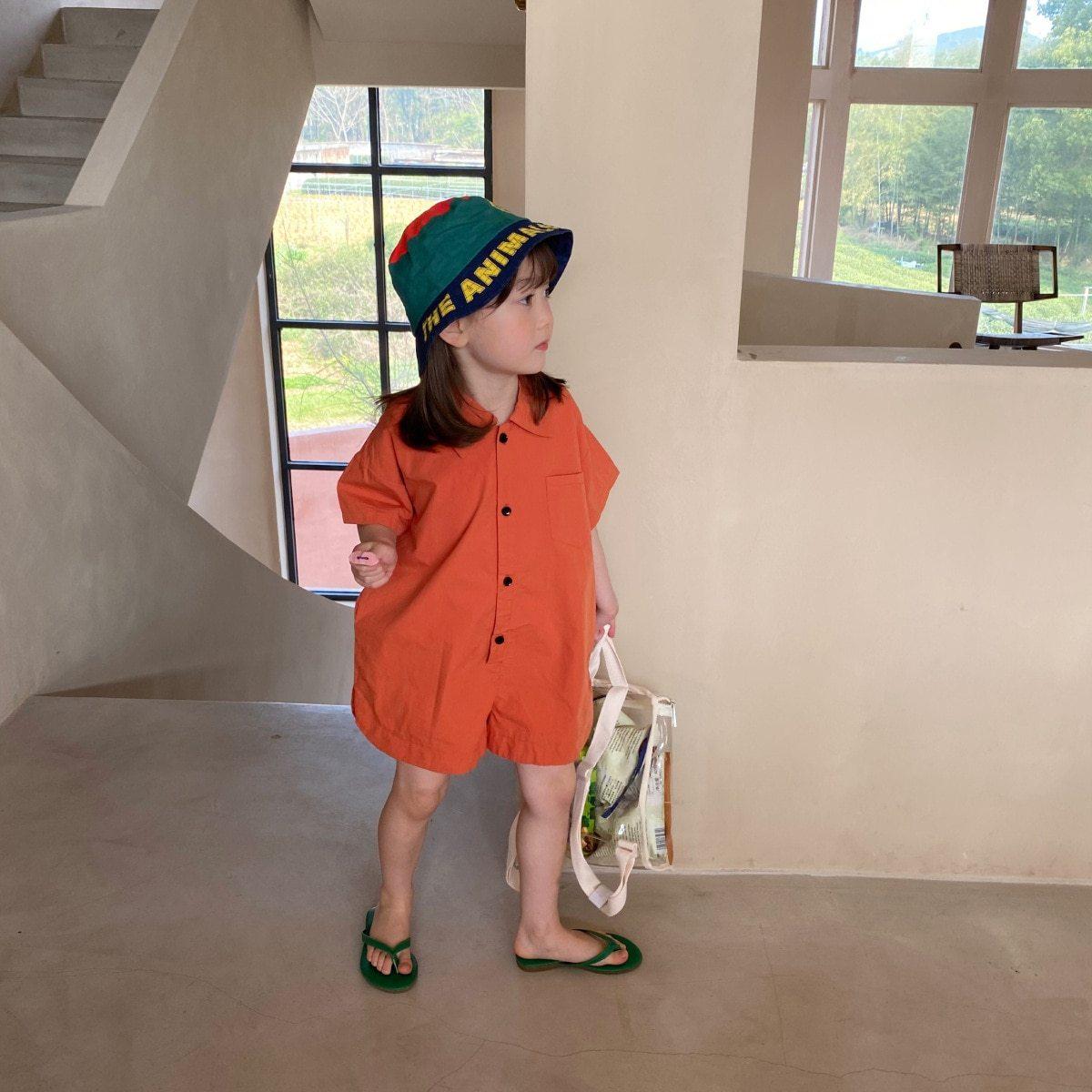 slide 1 - Space Printing Short Sleeve Bodysuit - Orange