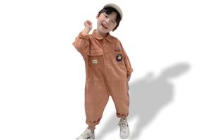 Embroidery Oversized Jumpsuit- Orange